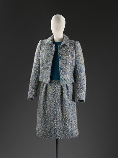 Jacket and dress tweed suit, designed by Edwin Hardy Amies, London, and with fabric woven in Scotland designed by Bernat Klein, ca. 1970.