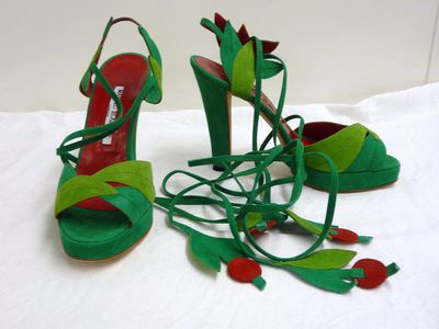 Green suede shoes with ankle ties, Manolo Blahnik, 2003 recreation of 1973 design.  Suede.
