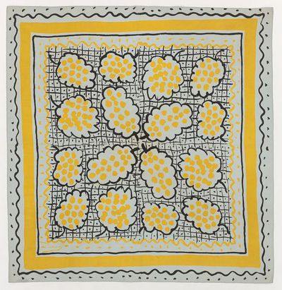 Image from object titled Screen-printed silk head scarf, designed by André Derain, made by Ascher Ltd, London, 1947.  Grey silk head scarf screen-printed with a pattern of grapes outlined in black and filled with yellow...