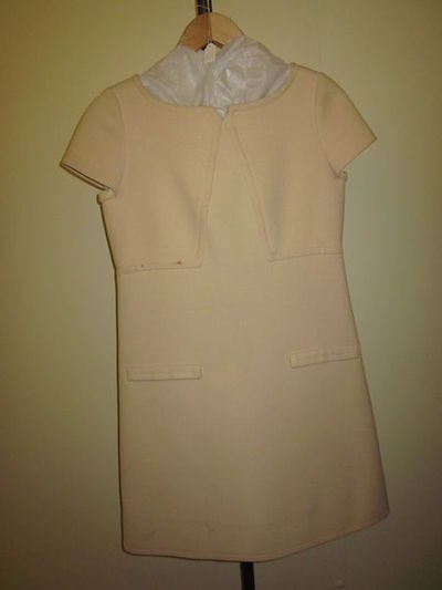 Image from object titled Day dress in gabardine, designed by André Courrèges, Paris, 1960s.  Gabardine