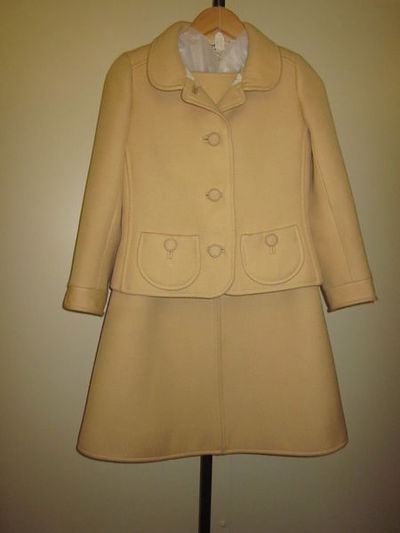 Day outfit consisting of a jacket and dress in wool, designed by André Courrèges, France, 1967-1968.  Wool;;