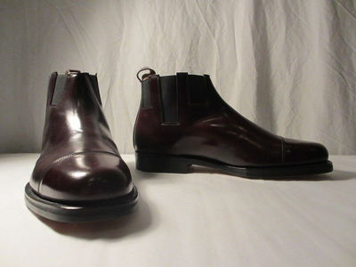 Pair of men's leather Chelsea boots, designed by Patrick Cox, England, 1988.  Leather;;