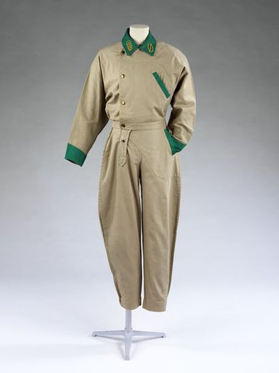 Trouser suit, pale green cotton, designed by William Brown, Great Britain, ca. 1980; Jacket, pale green cotton, designed by William Brown, Great Britain, ca. 1980; Trousers, pale green cotton, designed by William Brown,...