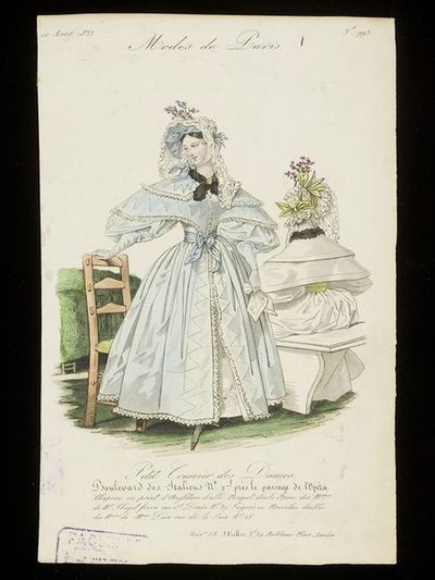 Front and back views of a Dion pelisse robe and Chagot bonnet. Petit Courrier des Dames, 10 August 1833.Two women in an outside setting showing front and back views of a pale blue pelisse robe trimmed with lace ruffles...