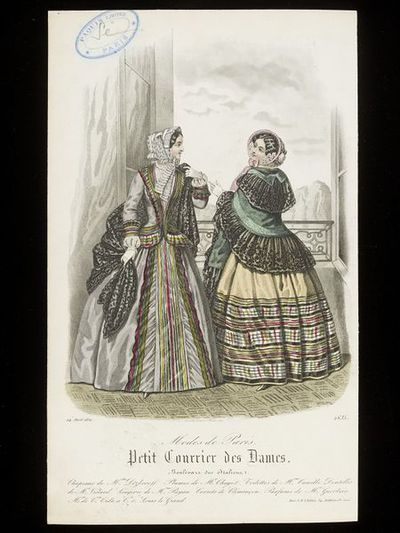 Rossin. Two day dresses by Mme Camille, bonnets by Mme Dezboroff, and lace shawls. Petit Courrier des Dames, 24 April 1852.Two women at an open window in day dresses, one grey, one light yellow, with multicoloured stripes...