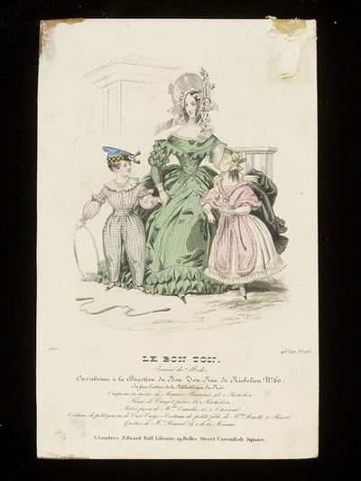 Woman and two children in dresses by Mme Camille, Cior-Cury and Mme Minette, bonnet by Maurice Beauvais. Published by Le Bon Ton, France, 1837.Fashion plate showing a woman in a green day dress and large bonnet trimmed...
