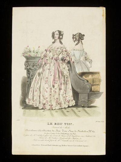 Front and back views of an evening dress by Madame Camille, Paris, and elaborate hairstyle by Monsieur Nardin. Published by Le Bon Ton, France, 1836.Front and back views of an evening or dinner dress trimmed with large...
