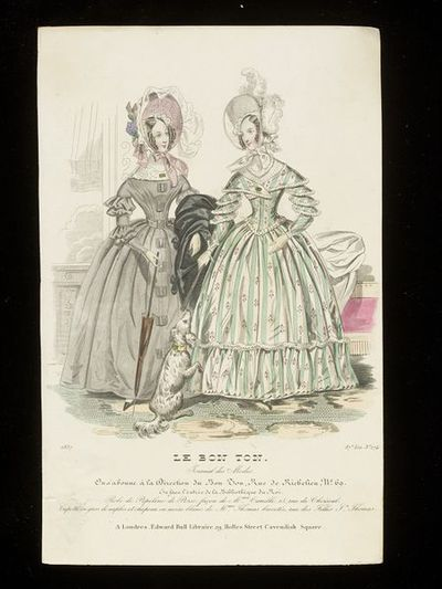 Two day dresses by Mme Camille and bonnets by Mme Thomas. Published by Le Bon Ton, France, 1837.Fashion plate showing two women in day dresses and bonnets. On the left, a grey dress and dull pink bonnet with a veil and...