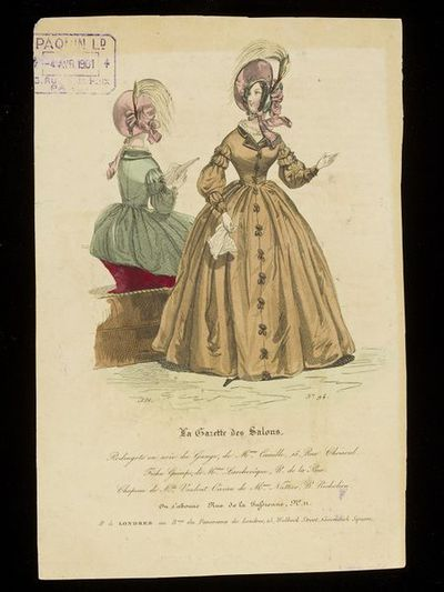 Two views of a woman's redingote dress by Madame Camille, with bonnet by Mme Vaulout. Published in La Gazette des Salons, Paris, 1836.Two views of a woman's day dress/pelisse robe/redingote, with frog fastenings down the...