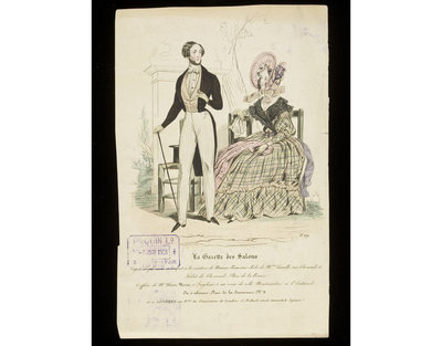 Man's outfit by Chevreuil, haircut by Alexis Morin; and woman's day dress by Madame Camille with a bonnet by Maurice Beauvais. Published in La Gazette des Salons, Paris, c.1837.Male and female dress in an outdoor setting....