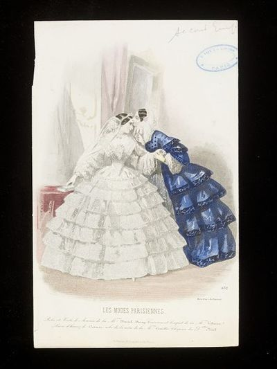 White lace wedding dress by Daniel Deray and mother of the bride dress by Camille. Les Modes Parisiennes, c.1860.A bride and her mother in an interior. The bride wears a veil and a white dress, the skirt and sleeves with...