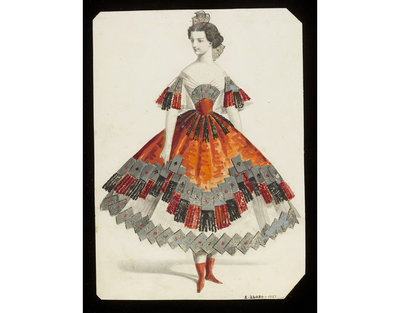 Fashion design, woman's masquerade ball dress. Subject representing a card game. Watercolour drawing by Jules Helleu, probably for Charles Frederick Worth. Paris, 1860s. Watercolour drawing, a design for a theatrical or...