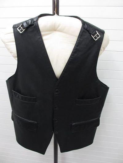Man's leather waistcoat with armour-style sleeves, designed by Vivienne Westwood, England, 1980s.Leather;;;