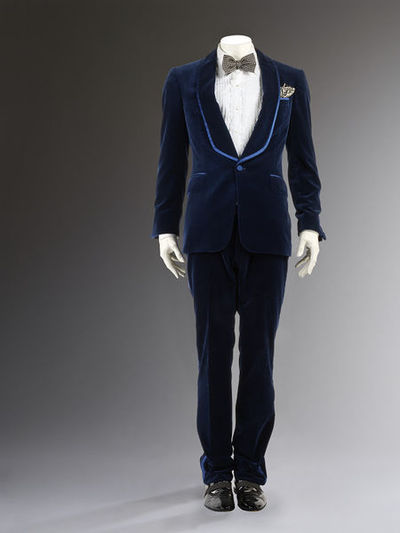 Men's silk velvet dinner suit with cotton shirt, silk handkerchief and bow tie, patent leather shoes, cufflinks and shirt studs, Tom Ford for Gucci, Autumn/Winter 2004/5, Italy.