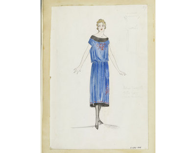 Madame Handley-Seymour. One of 4863 fashion designs. London, mid-late 1920. Bound in one of 48 volumes.Pencil, pen and ink, and watercolour