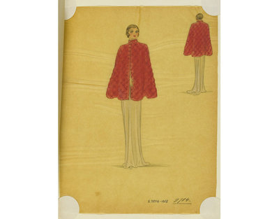Madame Handley-Seymour after Schiaparelli. Red quilted silk evening cape over grey gown. London, Autumn 1933. One of 4863 fashion designs bound in one of 48 volumes.Pencil, pen and ink, and watercolour