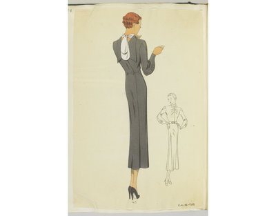Madame Handley-Seymour after Schiaparelli, Paris. Back-to-front day dress with white scarf, lapels and tuxedo button fastening in back of dark grey dress. London, Spring-Summer 1936. One of 4863 fashion designs bound in...