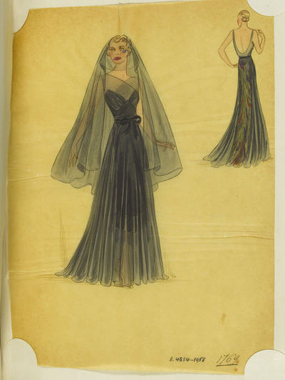 Madame Handley-Seymour, probably after Schiaparelli. Black chiffon evening dress with suggestion of a coloured underdress, black chiffon head-veil with a blue tear-drop. London, Autumn 1937. One of 4863 fashion designs...