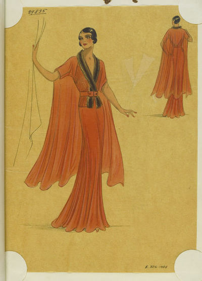 Madame Handley-Seymour after Lucien Lelong, Paris. Orange chiffon evening dress trimmed with brown fur. London, 1934-35. One of 4863 fashion designs bound in one of 48 volumes.Pencil, pen and ink, and watercolour