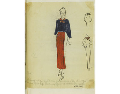 Madame Handley-Seymour after Schiaparelli. Paris. Rust red day dress with ruching and blue braid and blue shoulder cape. London, 1934-35. One of 4863 fashion designs bound in one of 48 volumes.Pencil, pen and ink, and...