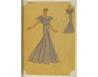 Madame Handley-Seymour after Lucien Lelong, Paris. Blue cellophane lace evening dress. London, 1934-35. One of 4863 fashion designs bound in one of 48 volumes.Pencil, pen and ink, and watercolour