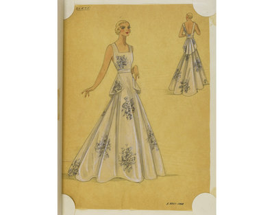 Madame Handley-Seymour after Lucien Lelong, Paris. White brocade evening dress with black shadow pattern. London, 1934-35. One of 4863 fashion designs bound in one of 48 volumes.Pencil, pen and ink, and watercolour