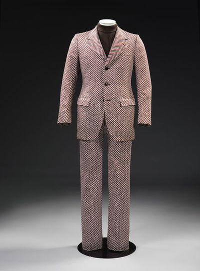Man's suit consisting of a jacket and trousers made of printed cotton, designed by Carlo Palazzi, Italy, 1970.