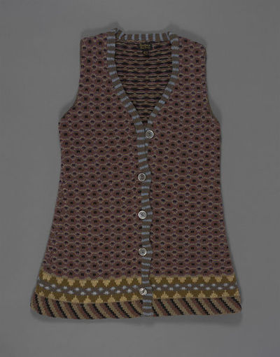 Knitted wool sleeveless waistcoat, designed by Kaffe Fassett, made by Mildred Boulton for Boulton & Kaffe, Great Britain, 1971.