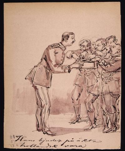 """Image from object titled """"Hans bjuder på äkta holländsk vara"""". Tuschteckning av Fritz von Dardel."""