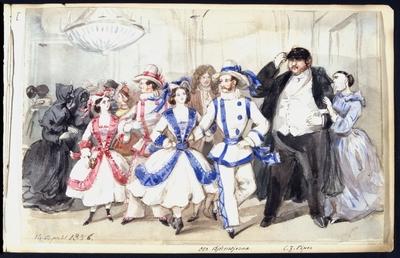 Image from object titled Maskeradbal 14 april 1856. Oscar Björnsjerna och C F Piper bland övriga gäster. Akvarell av Fritz von Dardel.