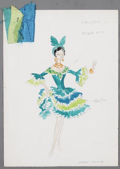 Kostuumontwerp voor Milly Scott in het nummer Calypsotime uit Van toen tot thans