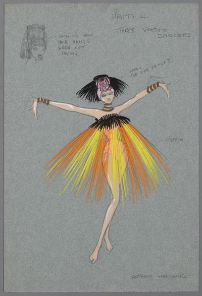 Kostuumontwerp voor Voodoo danseressen in het nummer Honderd graden in de schaduw uit Proficiat