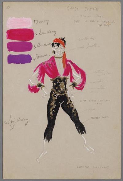 Kostuumontwerp voor dansers in het nummer Zigeuner Rhapsodie uit 't Staat geschreven in de sterren