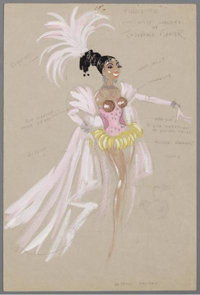 Kostuumontwerp voor Willy Walden als Josephine Baker in het nummer De naakte waarheid uit 's Staat in de sterren geschreven