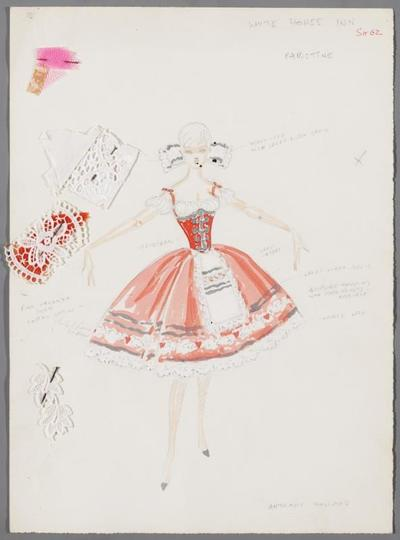 Kostuumontwerp voor het nummer White Horse Inn, revue onbekend