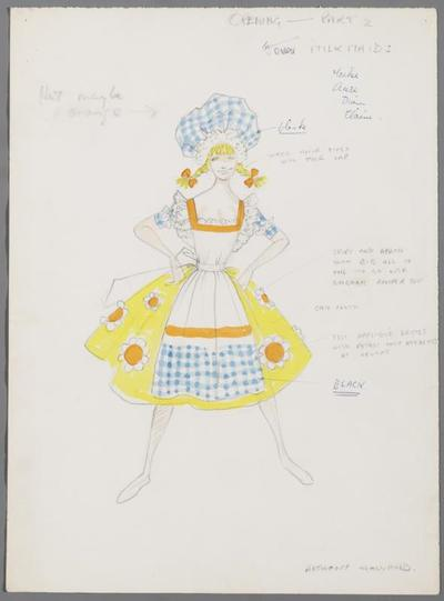 Kostuumontwerp voor melkmeisjes in het openingsnummer, revue onbekend
