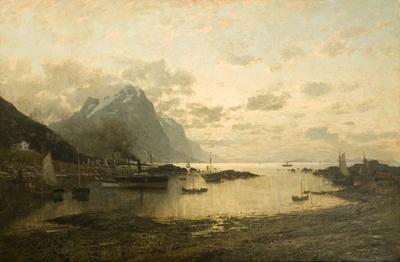 Dampskipsanløp i Lofoten; Arrival of the mail steamer at Lofoten