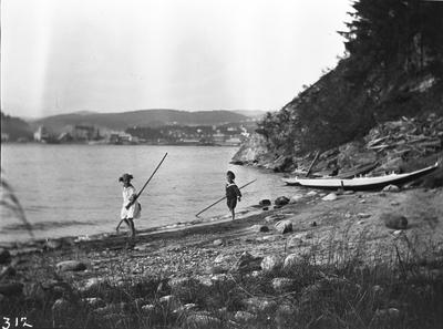 Dr. Horns og Næss børn paa udflugt paa hi sida vatnet. 14/7 1912