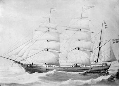 """Image from object titled Avfotografert maleri av barken """"Carl Johan"""" for fulle seil i åpent farvann"""