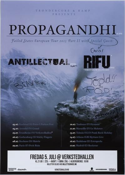 Antiintellectual; Propagandhi; RIFU; Plakat