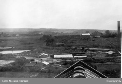 Fotografert mot øst fra taket på Østre Hasle gård i Økernveien