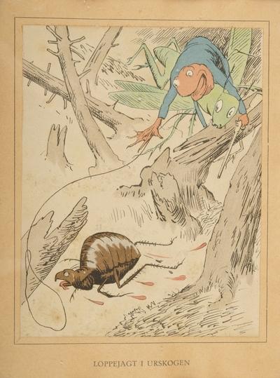"""""""Loppejagt i urskogen""""; Fra serien """"Har dyrene sjæl"""" (1892)"""