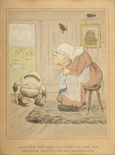 """""""Mor mor, det gjør saa vondt aa løpe, for kinderne mine ryster saa skrækkelig""""; Fra serien """"Har dyrene sjæl"""" (1892)"""