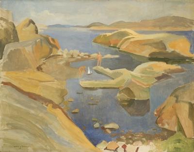 Image from object titled Gutter med seilbåter; Gutter med seilbåt; Boys with sail boat; Badende gutter