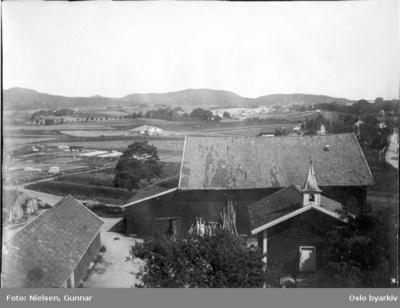 Fotografert mot nordøst fra taket på Østre Hasle gård i Økernveien