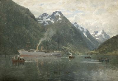 Vestlandsfjord med turistskip; Fra Hardanger