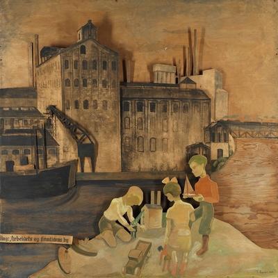 Idag: Arbeidets og fremtidens by; Maleri