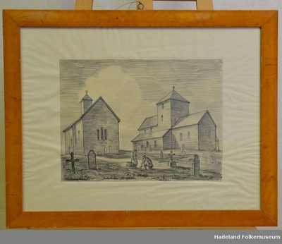 """Søsterkirkene på Gran""; Tegning"