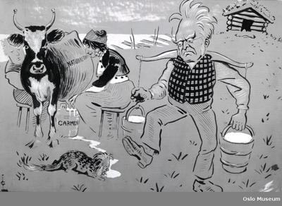 Karikatur av: A) Bjørnson B) Bjørnson C) Ibsen D) Oselio