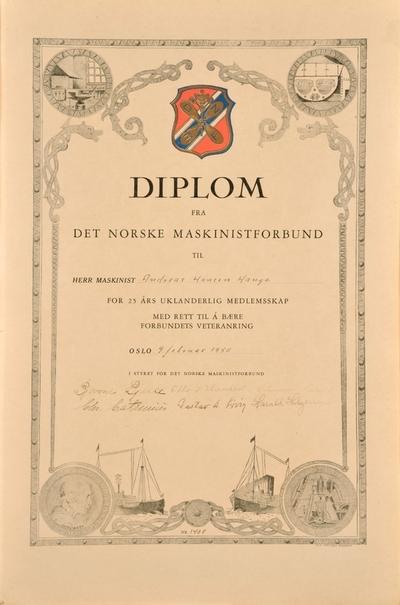 Diplom fra Det norske maskinistforbund